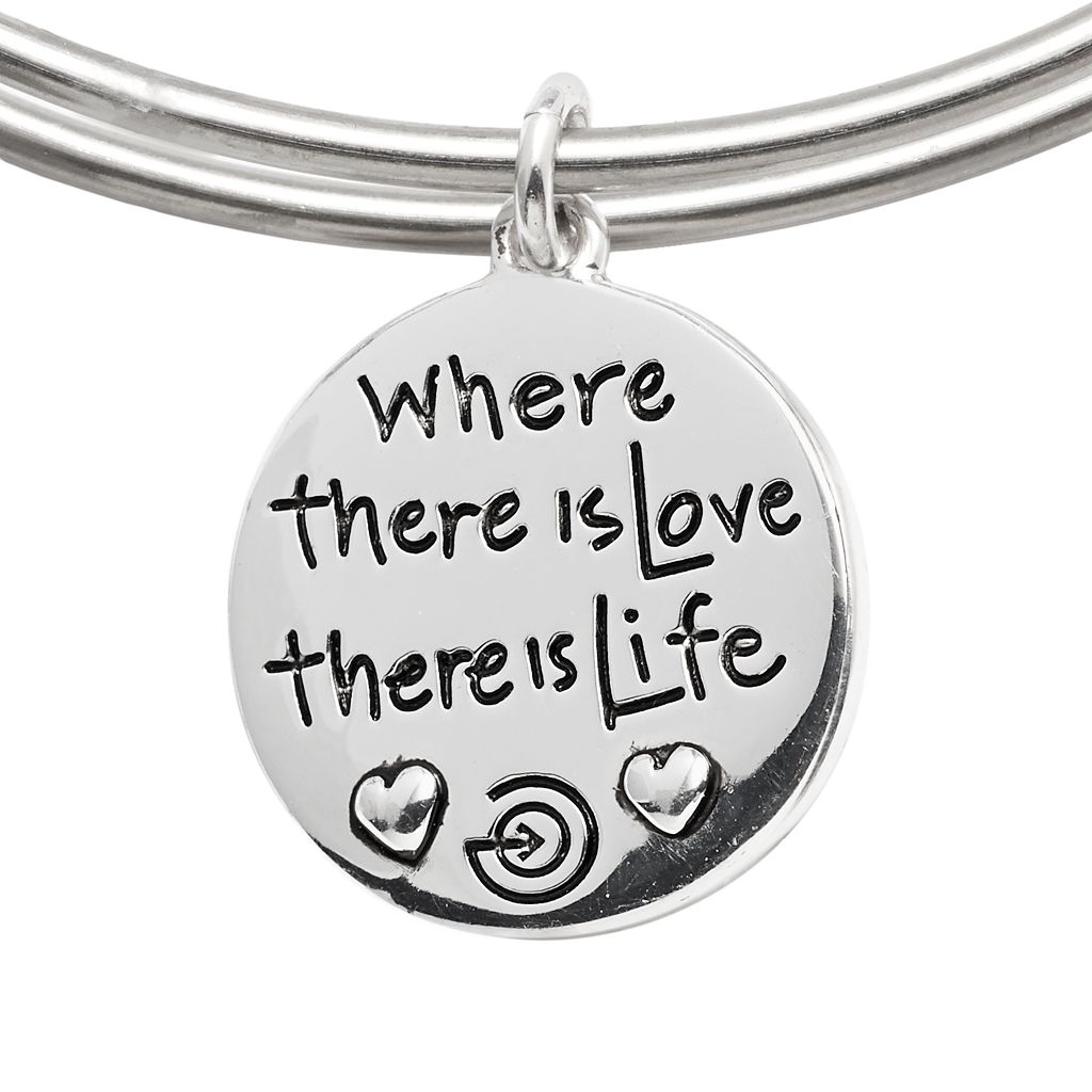 love this life Silver-Plated and Stainless Steel Simulated Turquoise Bead and Tree Charm Bangle Bracelet