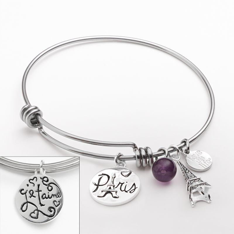love this life Silver-Plated & Stainless Steel Amethyst Bead, Paris & Eiffel Tower Charm Bangle Bracelet