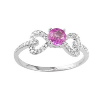 10k White Gold 1/5-ct. T.W. Diamond & Pink Sapphire Bow Ring