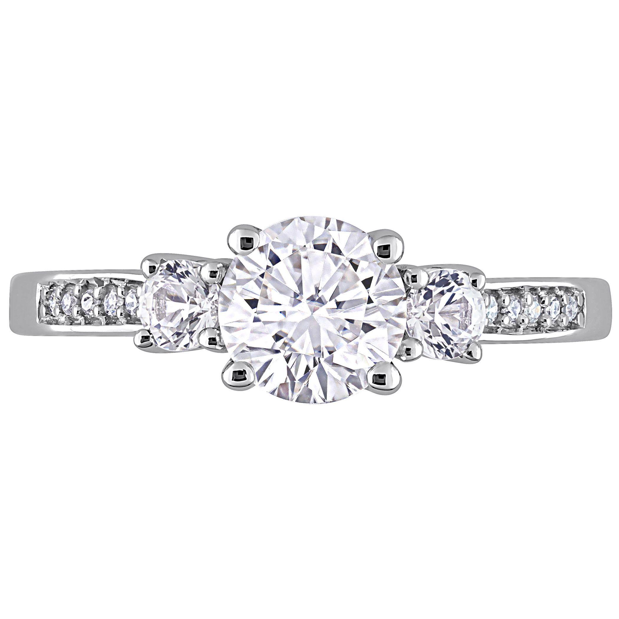 White Gold LabCreated White Sapphire Diamond Accent 3Stone