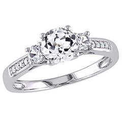 Stella Grace 10k White Gold Lab-Created White Sapphire & Diamond Accent 3-Stone Engagement Ring