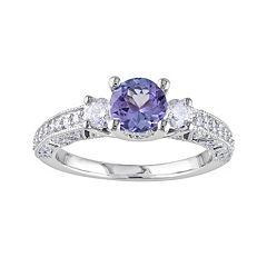 14k White Gold 1/2 ctT.W. Round-Cut Diamond & Tanzanite 3-Stone Wedding Ring