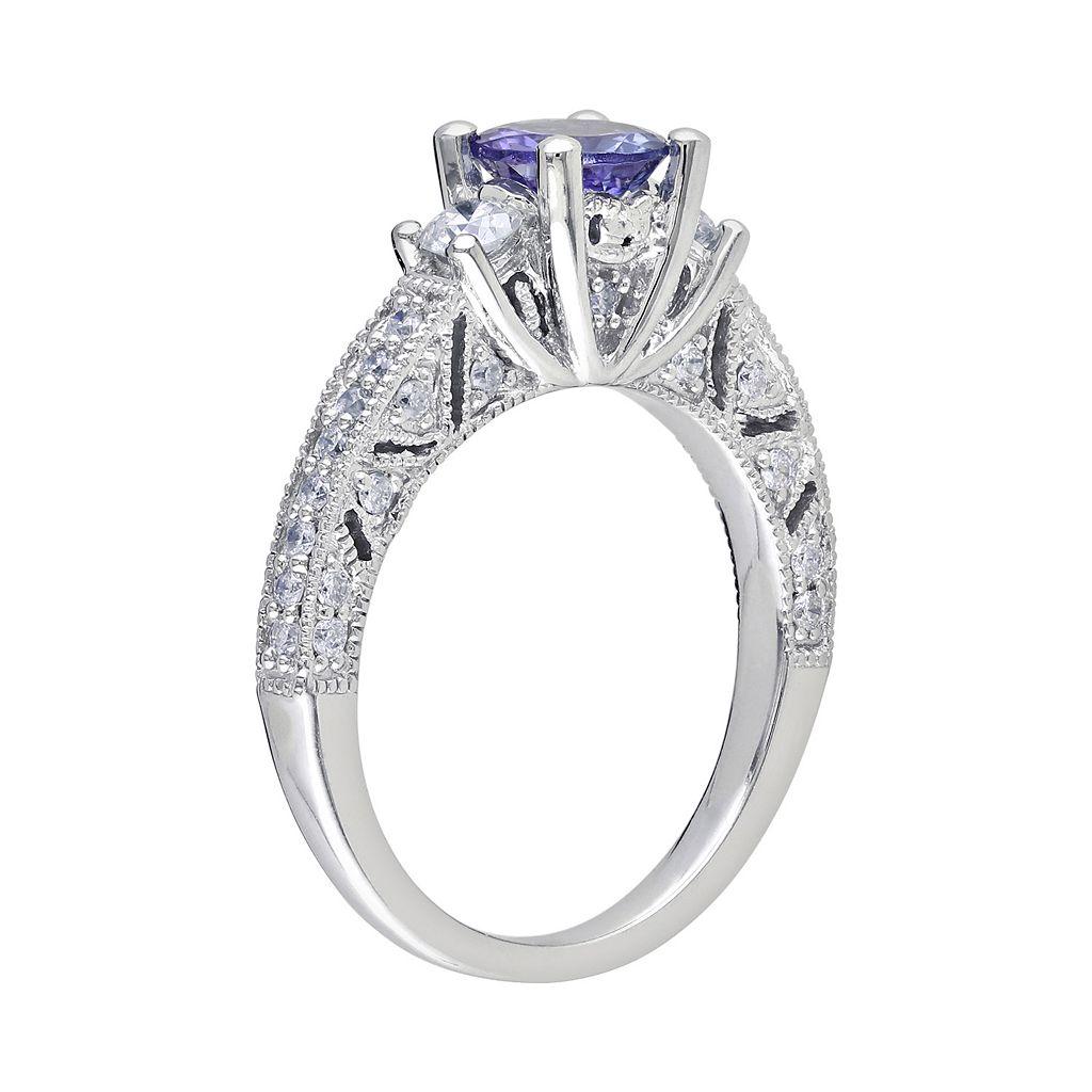14k White Gold 1/2-ct. T.W. Round-Cut Diamond and Tanzanite 3-Stone Wedding Ring