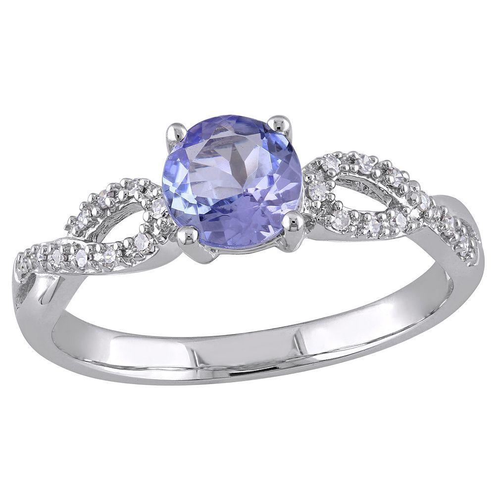 Stella Grace Tanzanite and 1/10 Carat T.W. Diamond Engagement Ring in 10k White Gold