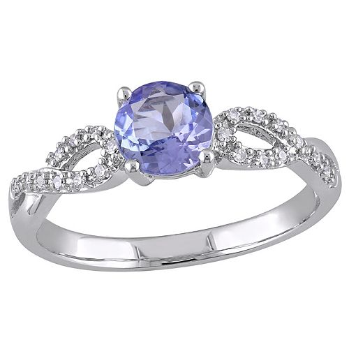Stella Grace Tanzanite and 1/10 Carat T.W. Diamond Engagement Ring in 10k White Gold