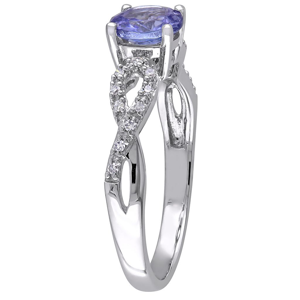 Tanzanite and 1/10 Carat T.W. Diamond Engagement Ring in 10k White Gold
