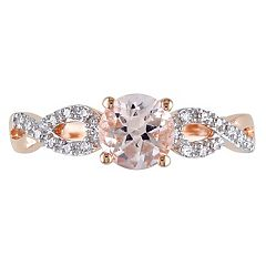 Morganite & 1/10 Carat T.W. Diamond Engagement Ring in 10k Rose Gold