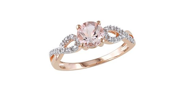 Morganite And 1 10 Carat T W Diamond Engagement Ring In