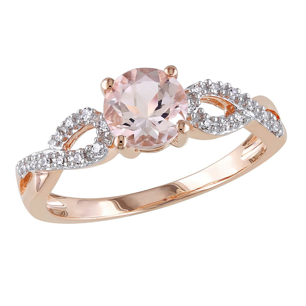 Morganite and 1/10 Carat T.W. Diamond Engagement Ring in 10k Rose Gold