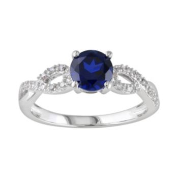 Stella Grace Lab-Created Sapphire and 1/10 Carat T.W. Diamond Engagement Ring in 10k White Gold
