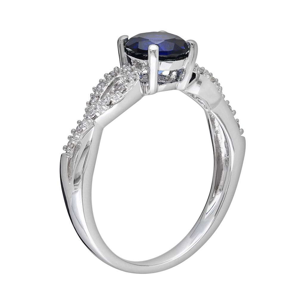 Lab-Created Sapphire and 1/10 Carat T.W. Diamond Engagement Ring in 10k White Gold