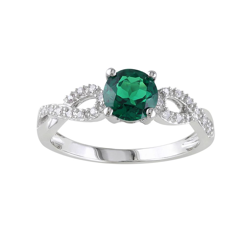Lab-Created Emerald & 1/10 Carat T.W. Diamond Engagement Ring in 10k White Gold