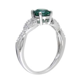 Stella Grace Lab-Created Emerald and 1/10 Carat T.W. Diamond Engagement Ring in 10k White Gold