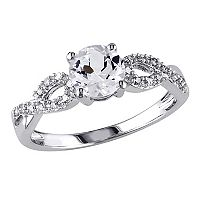 10k White Gold 1/10 Carat T.W. Diamond & Lab-Created White Sapphire Twist Wedding Ring