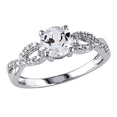 Stella Grace 10k White Gold 1/10 Carat T.W. Diamond & Lab-Created White Sapphire Twist Wedding Ring