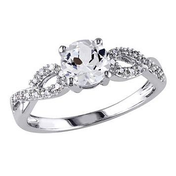 10k White Gold 1/10 Carat T.W. Diamond & Lab-Created White Sapphire Twist Wedding Ring