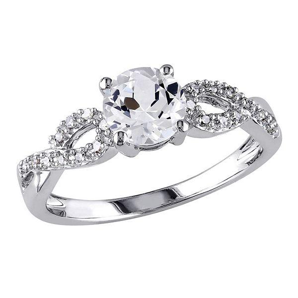 Stella Grace 10k White Gold 1/10 Carat T.W. Diamond & Lab-Created White Sapphire Twist Wedding Ring - White (6)