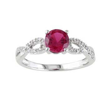 Lab-Created Ruby & 1/10 Carat T.W. Diamond Engagement Ring in 10k White Gold