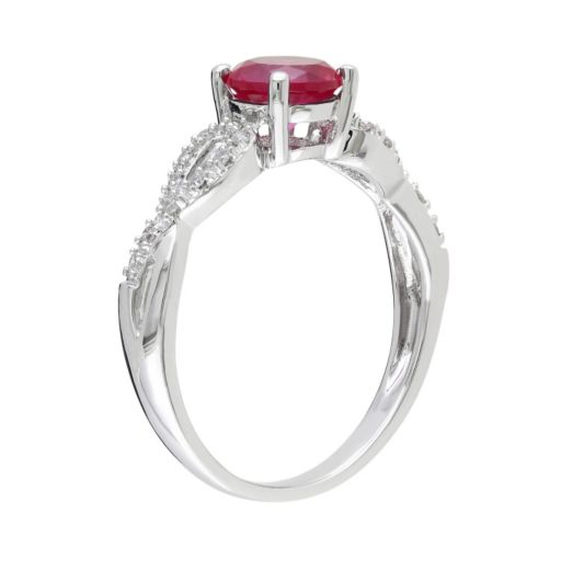 Stella Grace Lab-Created Ruby and 1/10 Carat T.W. Diamond Engagement Ring in 10k White Gold