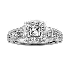 14k White Gold 3/4-ct. T.W. Princess-Cut IGL Certified Diamond Halo Wedding Ring
