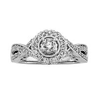14k White Gold 3/4-ct. T.W. Round-Cut IGL Certified Diamond Halo Wedding Ring