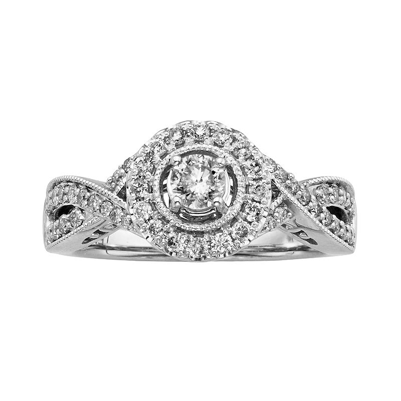 14k White Gold 3/4-ct. T.W. Round-Cut IGL Certified Diamond Halo Wedding Ring