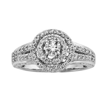 14k White Gold 3/4-ct. T.W. Round-Cut IGL Certified Halo Wedding Ring