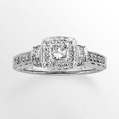 14k White Gold 3/4-ct. T.W. Princess-Cut IGL Certified Diamond Halo Wedding Ring