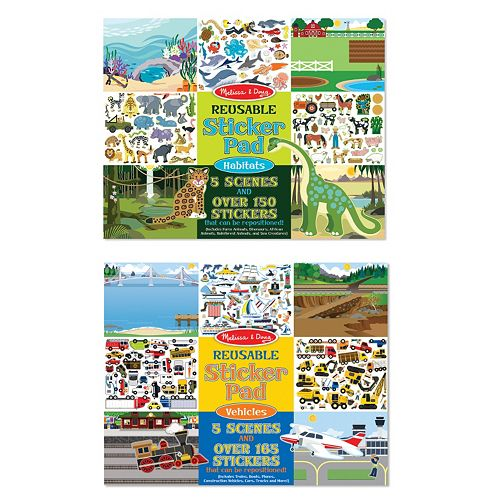 Melissa & Doug Vehicles & Habitats Reusable Sticker Pad Bundle
