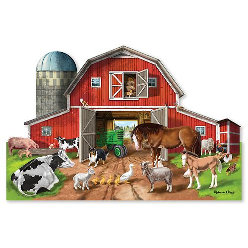 Melissa Doug Busy Barn Shaped 32 Pc Floor Puzzle