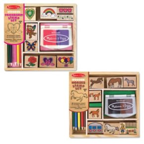Melissa and Doug Friendship and Horses Wooden Stamp Set Bundle