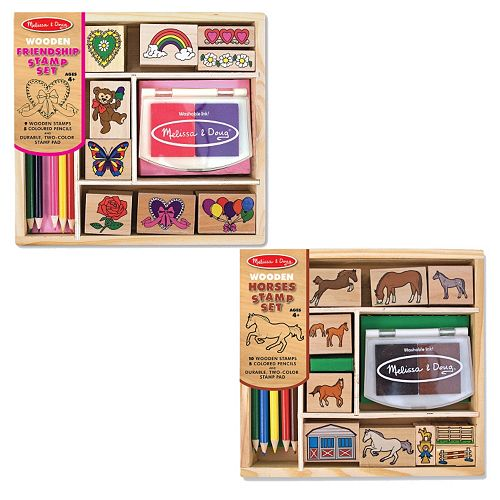 Melissa & Doug Friendship & Horses Wooden Stamp Set Bundle