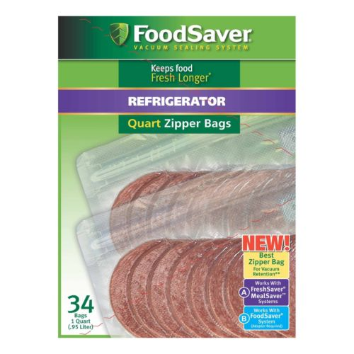 Foodsaver 1 Qt Refrigerator Zipper Bags 34 Pk