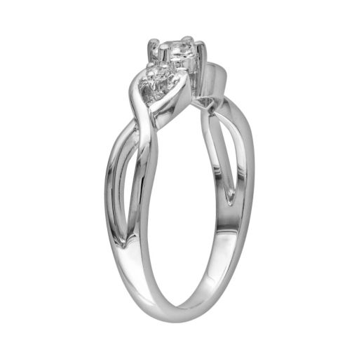 Stella Grace Sterling Silver Lab-Created White Sapphire and Diamond Accent Infinity Ring
