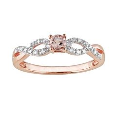 Rose Rhodium-Plated Sterling Silver Morganite & Diamond Accent Infinity Ring