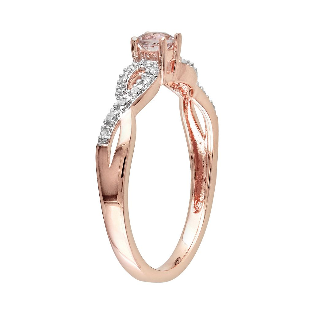 Rose Rhodium-Plated Sterling Silver Morganite and Diamond Accent Infinity Ring