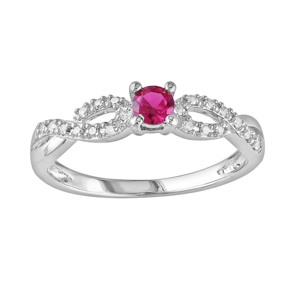 Sterling Silver Lab-Created Ruby & Diamond Accent Infinity Ring