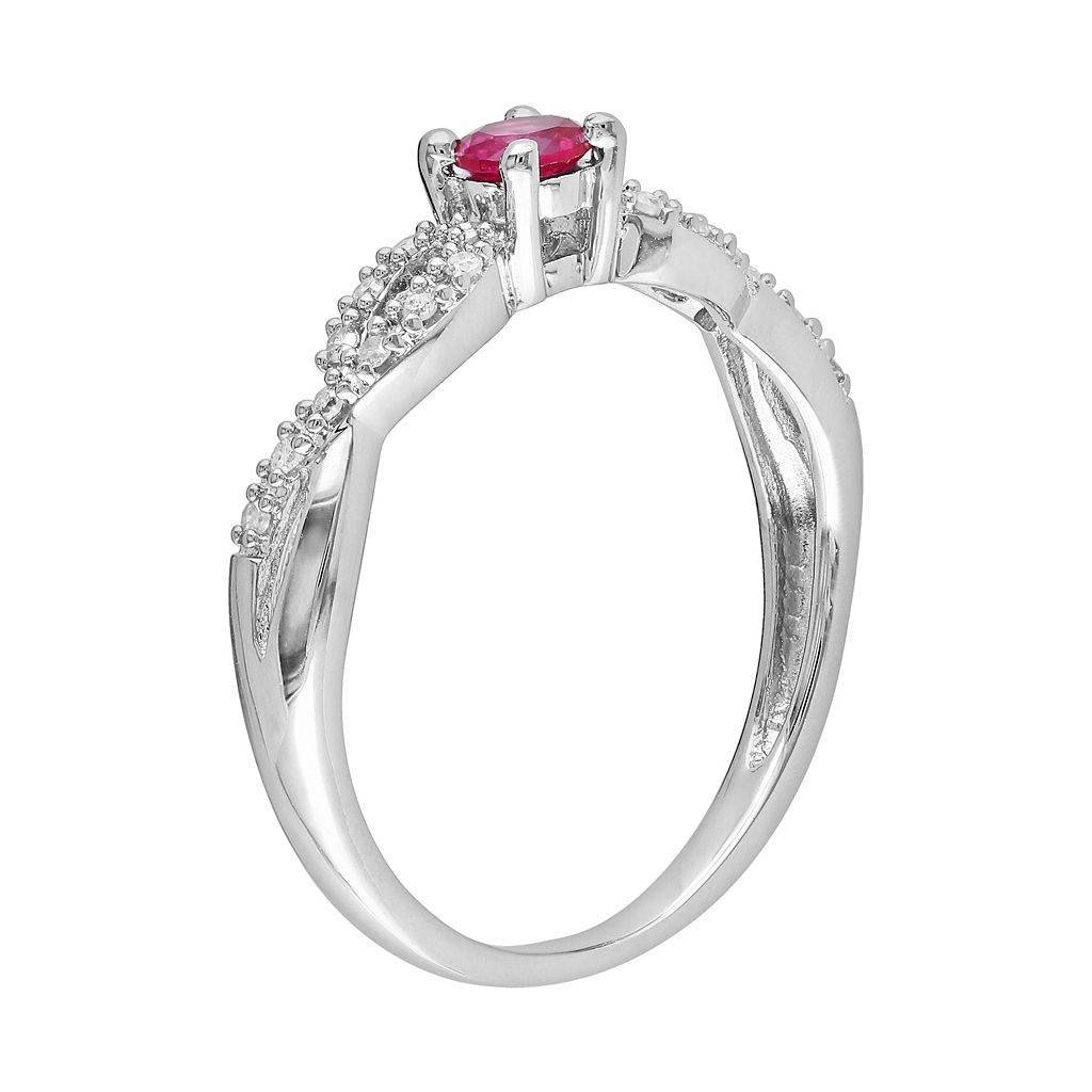 Sterling Silver Lab-Created Ruby and Diamond Accent Infinity Ring
