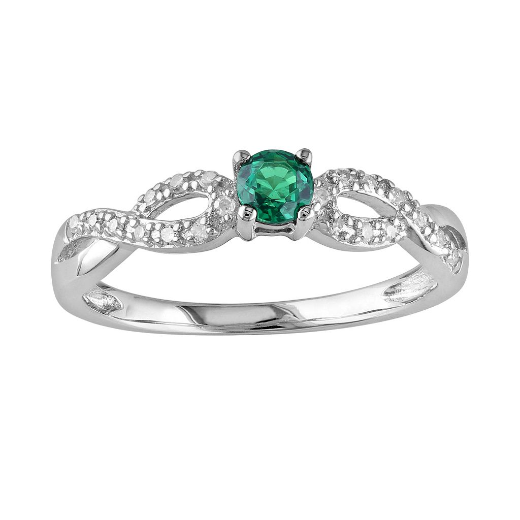Sterling Silver Lab-Created Emerald & Diamond Accent Infinity Ring