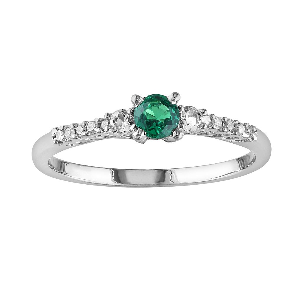 Sterling Silver Lab-Created Emerald, Lab-Created White Sapphire & Diamond Accent Ring