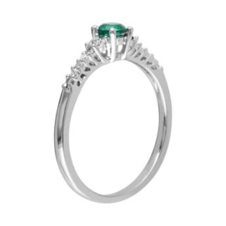 Sterling Silver Lab-Created Emerald, Lab-Created White Sapphire and Diamond Accent Ring