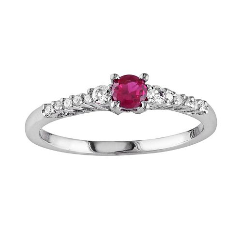 Sterling Silver Lab-Created Ruby, Lab-Created White Sapphire & Diamond Accent Ring