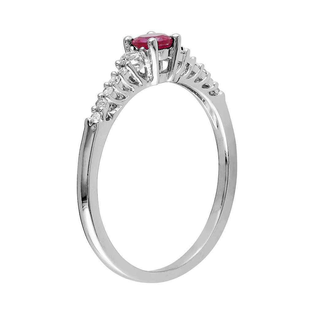 Sterling Silver Lab-Created Ruby, Lab-Created White Sapphire and Diamond Accent Ring