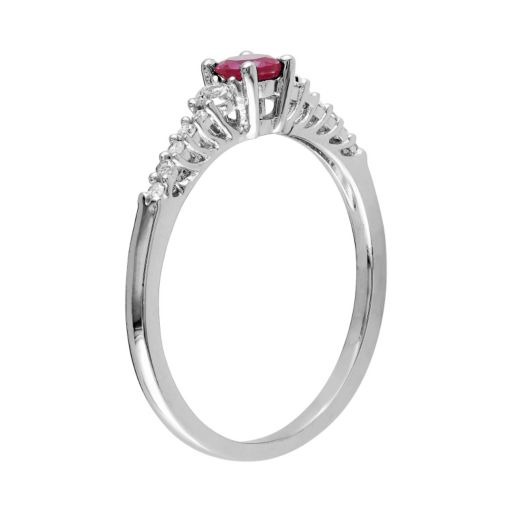 Stella Grace Sterling Silver Lab-Created Ruby, Lab-Created White Sapphire and Diamond Accent Ring