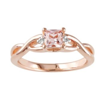 Stella Grace Rose Rhodium-Plated Sterling Silver Morganite and Diamond Accent Infinity Ring