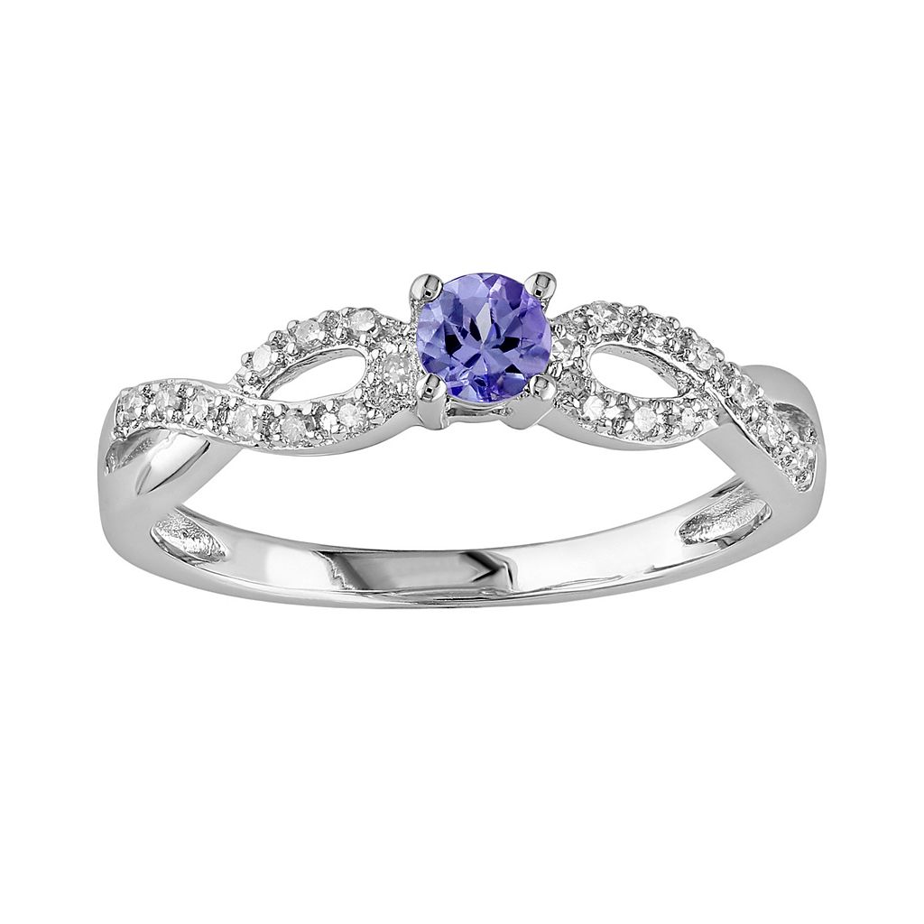 Sterling Silver Tanzanite & Diamond Accent Infinity Ring