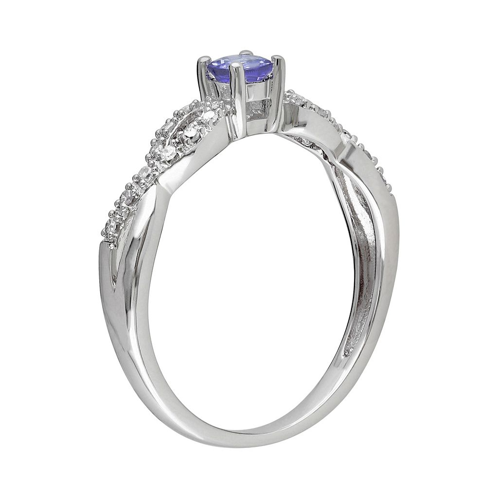 Sterling Silver Tanzanite and Diamond Accent Infinity Ring