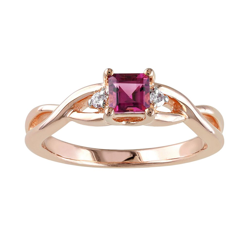 Rose Rhodium-Plated Sterling Silver Pink Tourmaline & Diamond Accent Infinity Ring