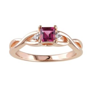 Rose Rhodium-Plated Sterling Silver Pink Tourmaline and Diamond Accent Infinity Ring