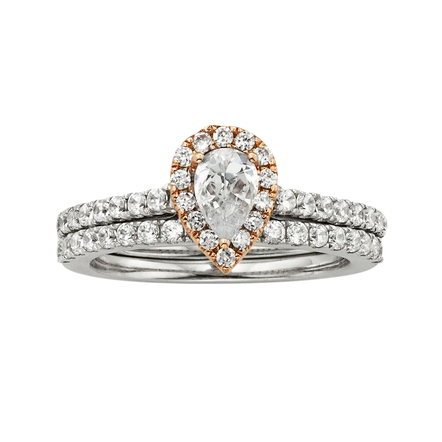 Rose Gold Diamond Wedding Rings 57 Popular The HALO Collection Pear